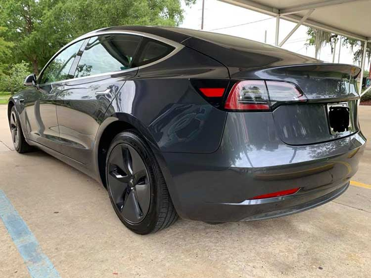 Tesla after auto body repair from Frank's Accurate Body Shop