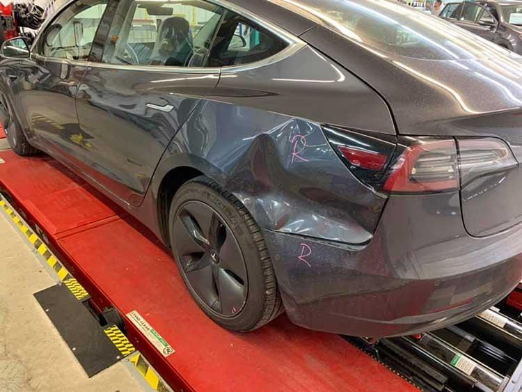 Tesla after collision damage